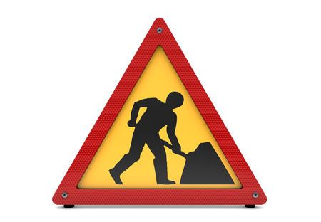 men at work sign: Road works sign isolated