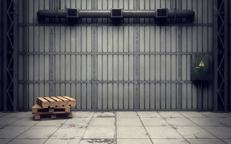empty warehouse: inside of an old empty warehouse