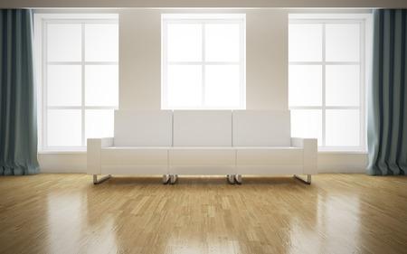白いソファの背景を持つモダンな明るいインテリア