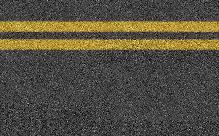 Dubbele gele lijn op nieuw asfalt Road textuur achtergrond