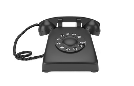 Black rotary phone isolated on white with clipping path photo