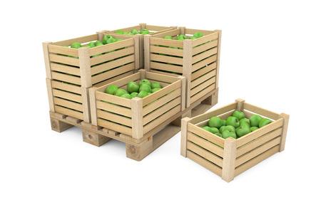 クリッピング パスと白で分離された木製パレットにりんごがいっぱい箱 写真素材