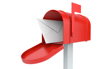 Incoming mail. mailbox with letter isolated on white with clipping path 스톡 콘텐츠