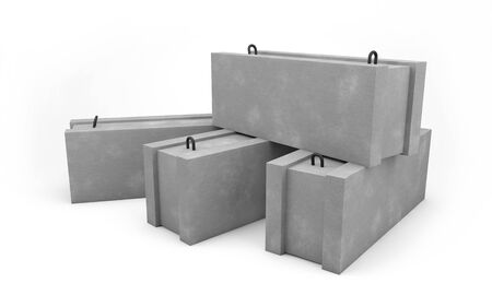 Concrete blocks for construction isolated on white with clipping path Zdjęcie Seryjne