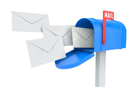 Incoming mail. blue mailbox with letters isolated on white with clipping path 版權商用圖片