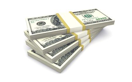 dinero: Los paquetes de dinero aislados en blanco Foto de archivo