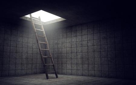 tunel: Escalera a la libertad de habitación sucia Foto de archivo