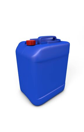 plastic made: Blue plastic jerry can isolated on white. clipping path