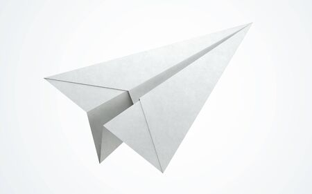 paper flying: Paper airplane flying. clipping path Stock Photo