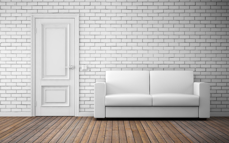 wall decor: Modern bright room interior background. 3d rendering Stock Photo