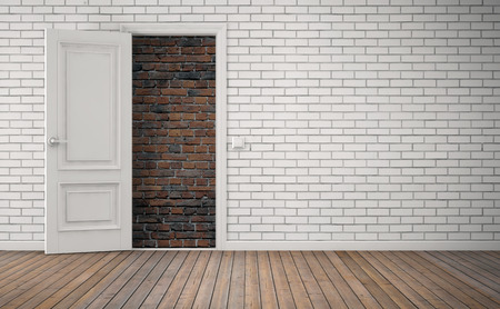 no way out: Bricked up door in room. No way out concept. 3D rendering Stock Photo