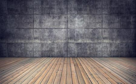 木製の床やコンクリート タイル壁背景と空の部屋 写真素材
