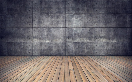 Empty room with wooden floor and concrete tiles wall background Zdjęcie Seryjne