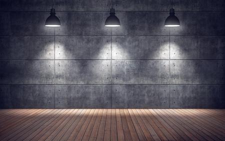 Lege ruimte met lampen. houten vloer en betonnen tegels muur achtergrond