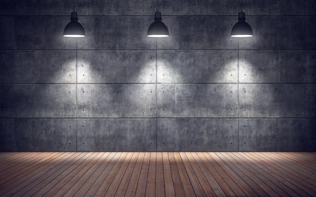 Empty room with lamps. wooden floor and concrete tiles wall background