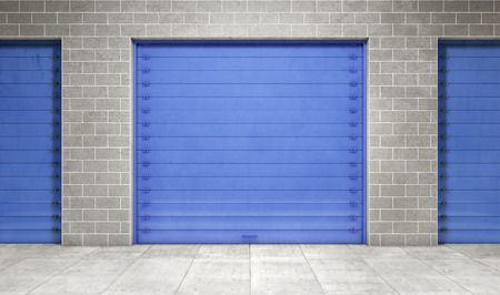 self storage: Self storage unit closed. 3d rendering Stock Photo