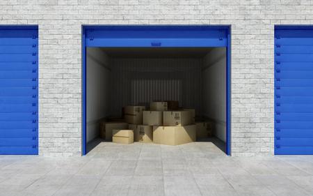 Öffnen Sie Self-Storage-Einheit voller Kartons. 3D-Rendering