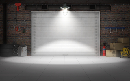 garage background: Empty car repair garage background. 3d rendering Stock Photo
