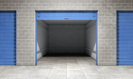 small group of objects: Empty open door self storage unit . 3d rendering