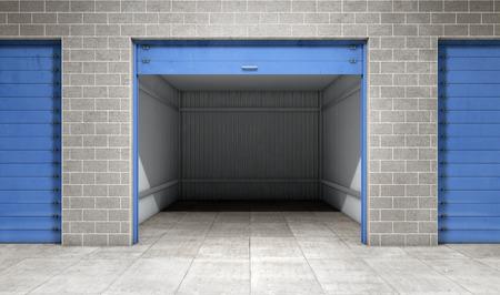 unità di self storage vuoto porta aperta. rendering 3D Archivio Fotografico