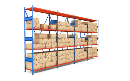 Warehouse rack full of cardboard boxes isolated on white. 3d rendering Standard-Bild