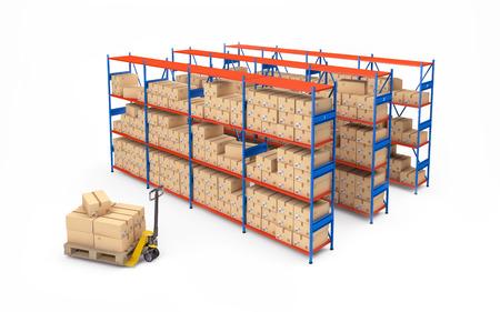 estante de almacén lleno de cajas de cartón aisladas en blanco. Las 3D Foto de archivo