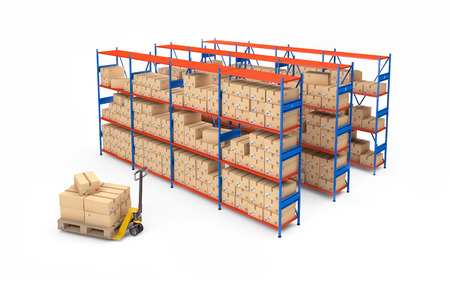 Warehouse rack full of cardboard boxes isolated on white. 3d rendering Фото со стока