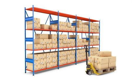 倉庫ラック白で隔離の段ボール箱いっぱい。3 d レンダリング