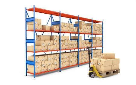 Warehouse rack full of cardboard boxes isolated on white. 3d rendering Zdjęcie Seryjne