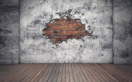 Room with old concrete broken wall. Red bricks. 3d rendering 스톡 콘텐츠