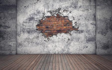 Zimmer mit alten Beton gebrochen Wand. Rote Ziegel. 3D-Rendering Standard-Bild - 64942085