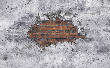 visible: Old concrete broken wall with bred bricks visible