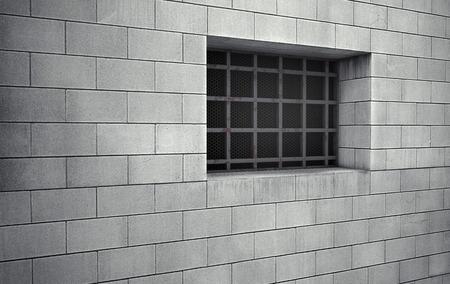 prison cell: cellule Vieille prison fenêtre grillagée. rendu 3d Banque d'images