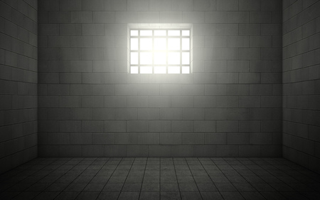 Dark prison cell with light shining through a barred window. 3d rendering