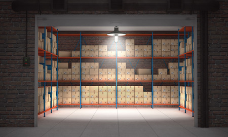Ffnen Sie Self-Storage-Einheit voller Kartons. 3D-Rendering Standard-Bild - 66095332