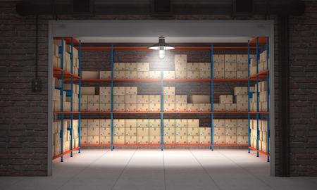 Unità aperta auto contenitore pieno di scatole di cartone. rendering 3D