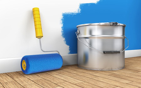 Painting of walls in a new room with paint roller. 3d rendering