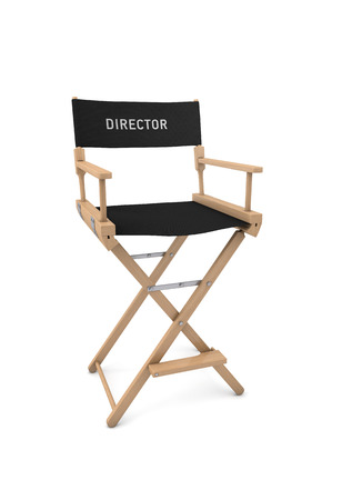 screenplay: Film directors chair isolated on white background