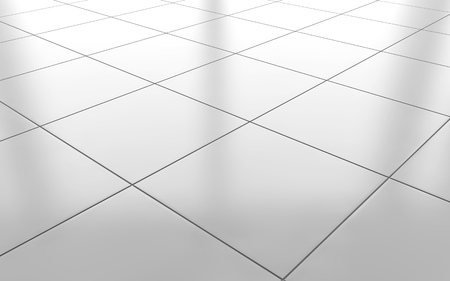 White Glossy Ceramic Tile Floor Pattern Background 3d Rendering