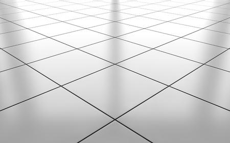 Fondo blanco brillante del patrón del suelo de la baldosa de cerámica. Representación 3D