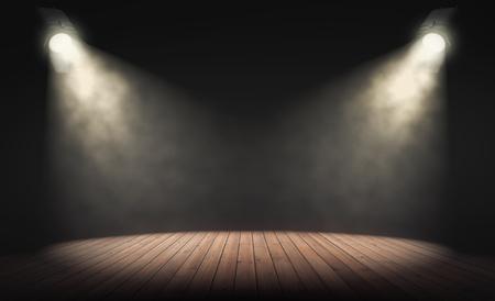 Scheinwerfer beleuchten leere Bühne mit dunklem Hintergrund. 3D-Rendering Standard-Bild - 83019722