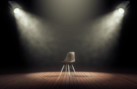 Spotlights illuminate empty stage with chair in dark background. 3d rendering