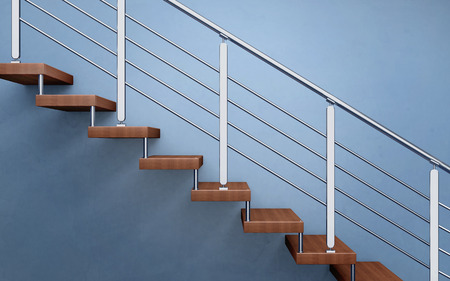 Modern wooden staircase with chromed railing. 3d rendering