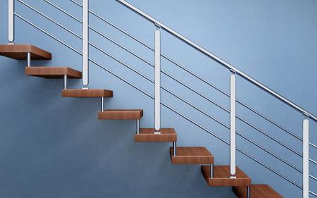 Escalier en bois moderne avec garde-corps chromé. Rendu 3D