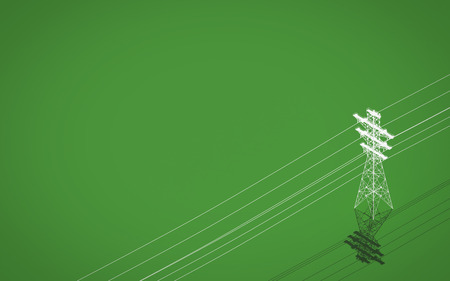 High voltage power transmission tower on green background. 3d rendering Stock Photo