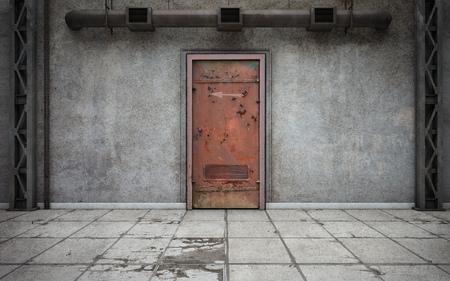Dunkler Betonwandraum mit alter Tür. 3D-Rendering Standard-Bild - 100349131