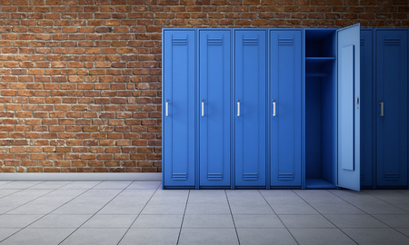 Empty locker room interior. 3d rendering