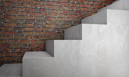 Concrete stairs on brick wall. 3d rendering Standard-Bild - 104851900
