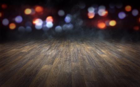 Wooden floor with abstract blurred lights background. 3d rendering Standard-Bild - 104851901