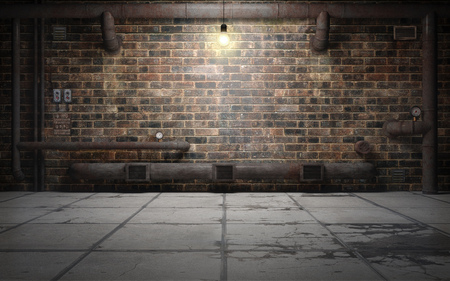 Old grunge basement room with rust pipes. 3d rendering Standard-Bild - 104851902